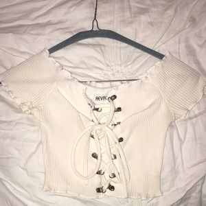 White cropped festival top